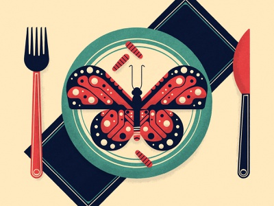 No 5 - Your ancestors probably ate insects editorial fork knife plate food butterfly bug insect science vectober