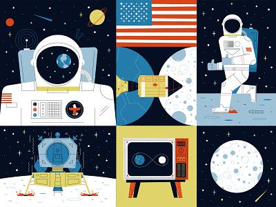 Moon Landing 50th Anniversary editorial science rocket astronaut tv america nasa apollo 11 moon space