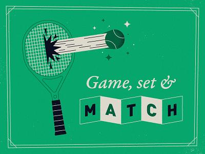Game, set and match! court game typography vintage retro mid century wimbledon ball racket sport tennis