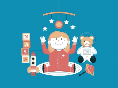 No. 3 / How to Plan a Family Around an Interplanetary Mission family nasa bear rocket baby inktober vectober2019 vectober space science editorial