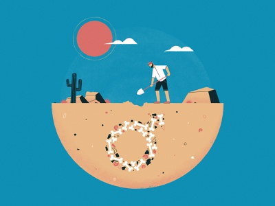 No. 6 / Why are fossils more often male? bone dig desert dinosaur fossil inktober vectober2019 vectober nature science editorial