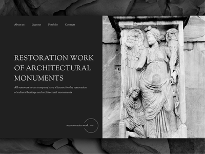 Restoration services website minimal monument architecture restoration art concept creative simple webdesign site website web ui design
