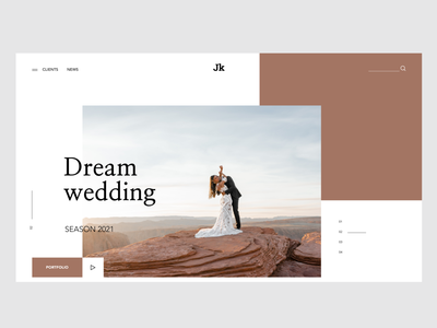 Landing page for wedding agency flat wedding web ux ui typography minimal design agency