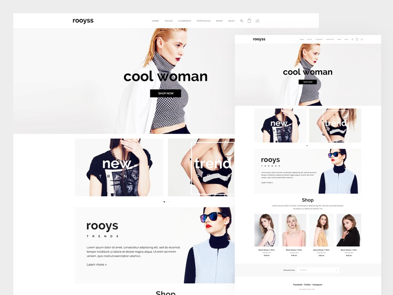 Rooys website web ux ui shop product page loading interaction features