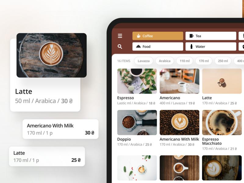 Coffee Order App portfolio food products checkout order ipad blur card app design app mobile interface design ios