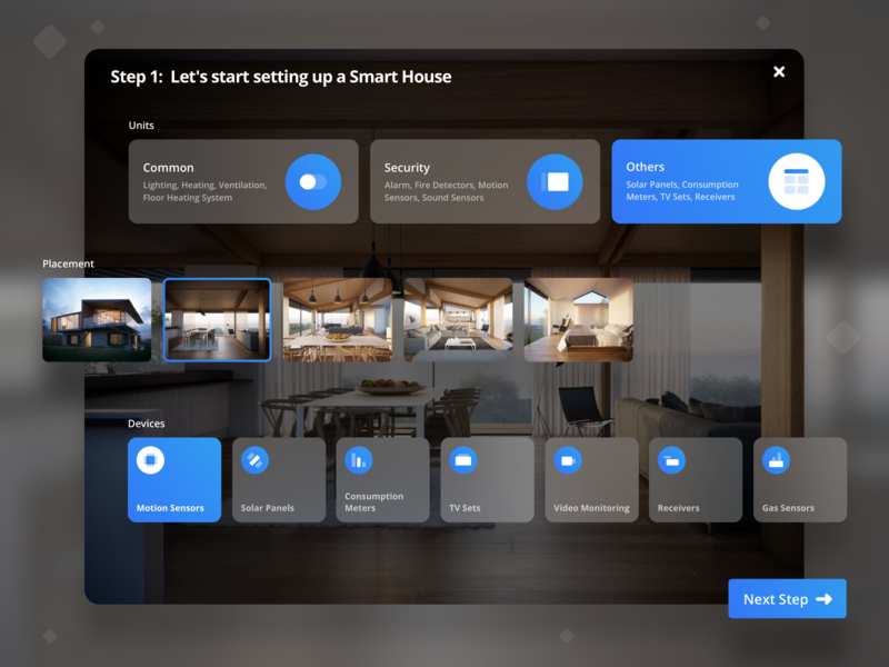 Smart House Application Concept. card app design ui smart smar house blur product app mobile interface ios design