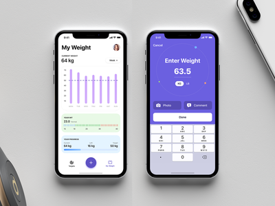 Weight Loss Tracker Mobile App Concept ui sport fitness app fitness product application app ios interface freebie concept free mobile sketch sketch file