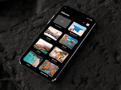 Photo App Concept dark theme application black photo trevel project product mobile ux ui sketch app ios iphone interface design
