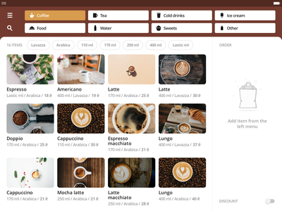 Coffee Order App food and drink application sketch product cart photo card sorting food clean order ipad app restaurant food app interface ipad ios app design mobile