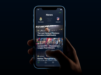 The Football - Mobile App real madrid matches news gradient blur soccer app iphone sport football app football soccer app design card ui design application mobile interface ios app