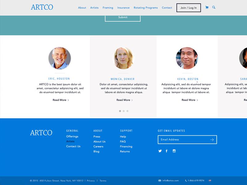 Testimonials & Footer navigation artco footer testimonial