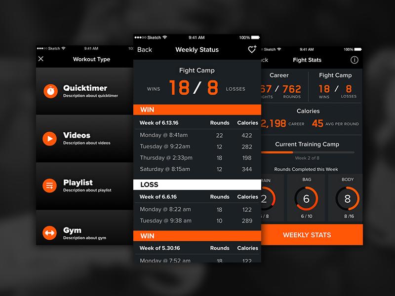 Boxing & CrossFit App Design bold dashboard ios app crossfit boxing