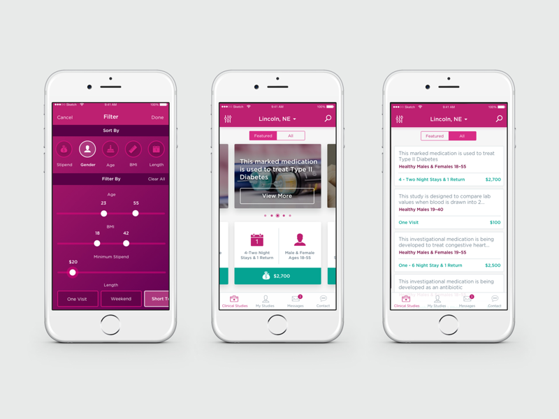 Health Study & Research App app ux ui health research