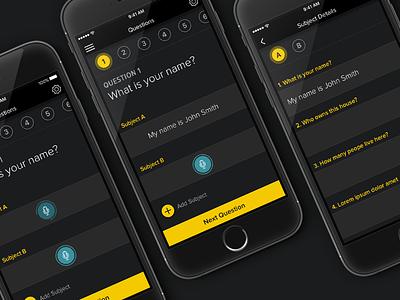 Questioning App dark ui mobile question app ui