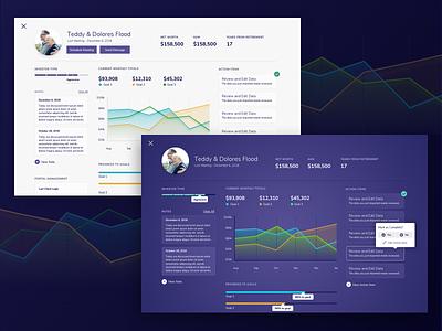 Financial Planning Dashboard data visualisation graphic overview ui  ux dark light purple dashboard planning finance
