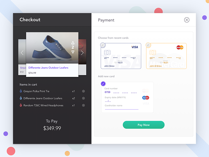 Cart - Credit card checkout - Daily UI 002 checkout cart card credit