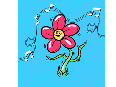 dancing flower music dancing flowers illustration cartoons freehand