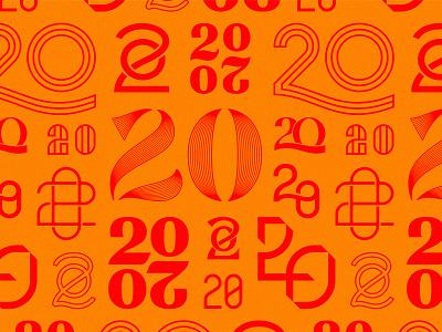 20s on 20s lines customtype years monoline 2020 numbers typography mark icon type logo
