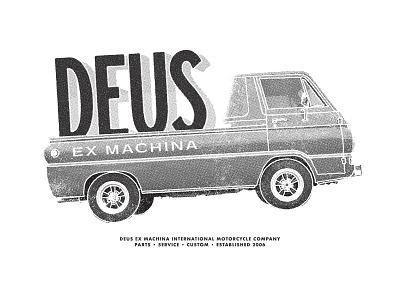 Deus Ex Machina - Entry 2 retro vintage motorcycle auto truck van deusexmachina deus tshirt halftone grunge grit type typography illustration branding graphic design