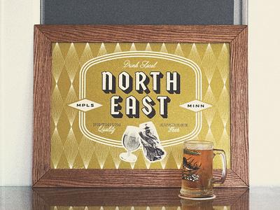 Cheers. wood minneapolis brewery brewing beer poster art poster illustration typography minnesota badge grunge type logo