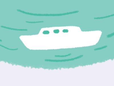 little boat relax mint green photoshop digital boat illustration