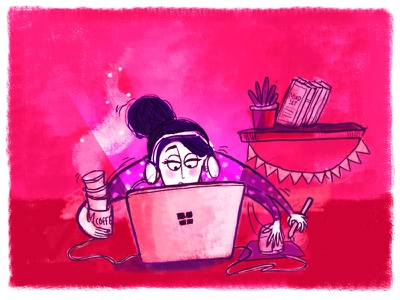 Busy mode on! illustration disturb not do coffee fun deadlines work busy . studio