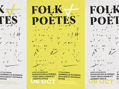 Poster Folk + Poètes montreal poetry music poster