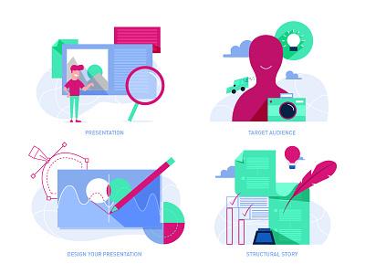 Illustrations for a blog post design profile chaarcter presentation illustration
