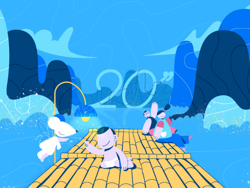 Happy New Year 2020 and year of the mouse !!! tet lunar new year year of the mouse happy new year new year water river landscape character design baby mouse character graphic design design illustrator illustration