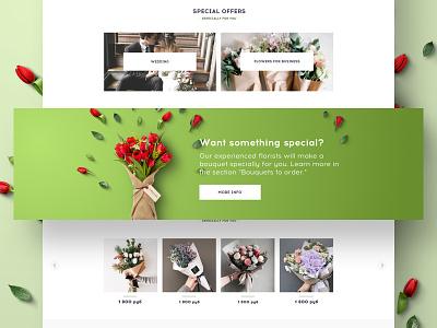 Flower shop web design flowers interface user ui light design clean web