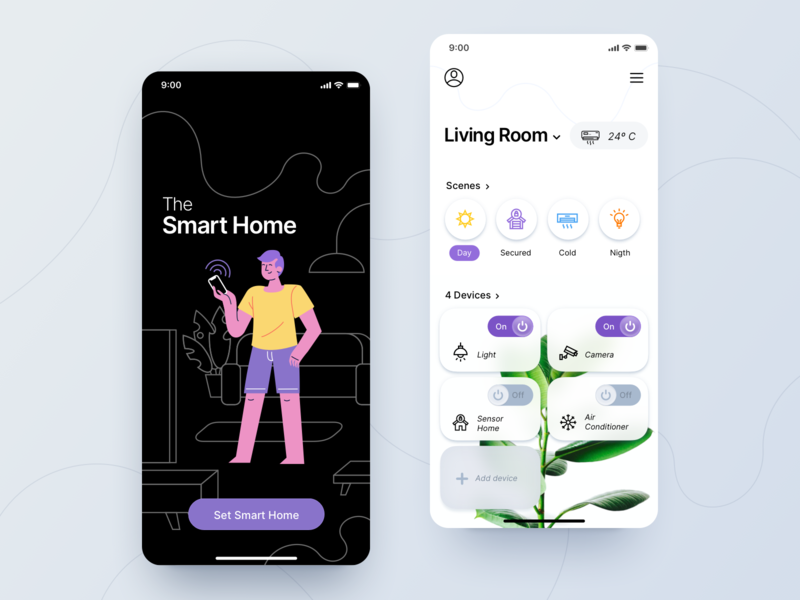 Smart Home App - Concept dribbble vector procreate design card ui design illustration ui