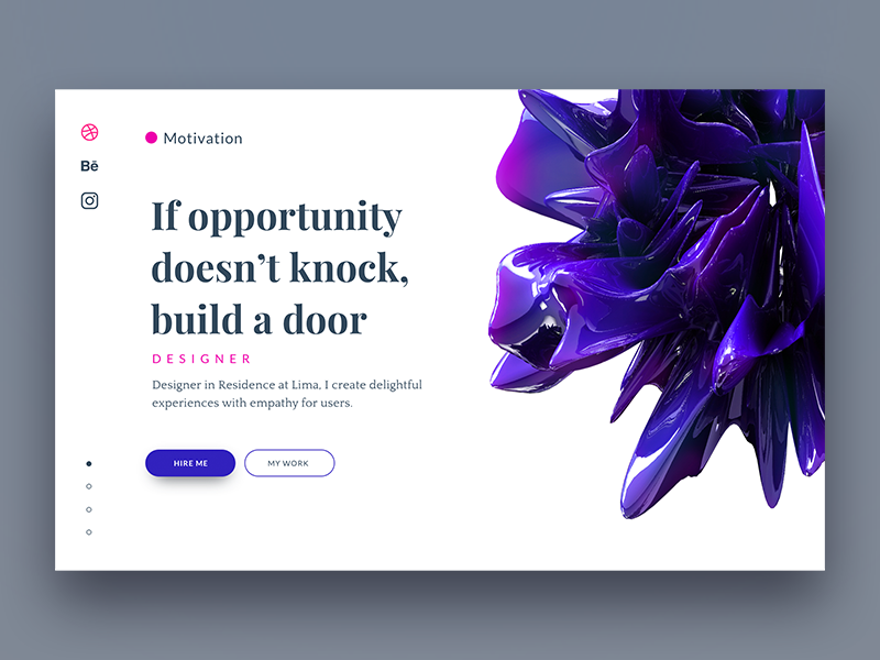 Landing page for design portfolio web design ux design ux user interface user experience ui design ui interaction design clean