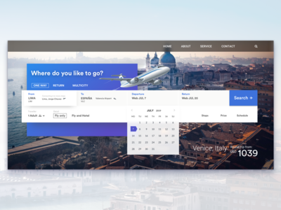 Concept of booking for travel web