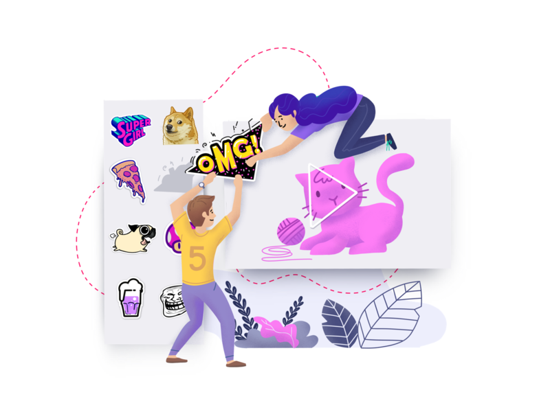 Illustration for website video sticker web ui illustration