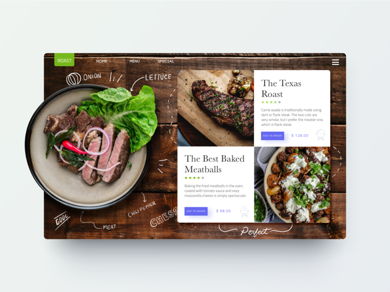 Daily UI Challenge -  Roasted ux card food design ui design meat ui