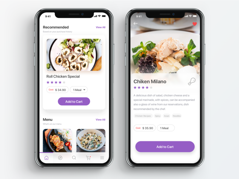 Daily UI Challenge -  Chicken clean iphone mobile food chicken illustration ui