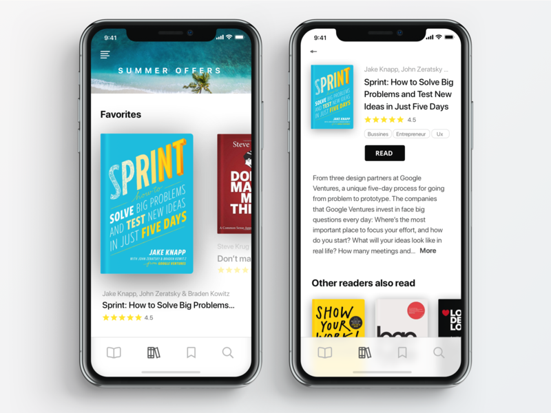 Electronic Bookcase App read bookshop summer apple visual design iphone x app library books ui design clean ui
