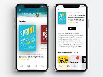 Electronic Bookcase App read bookshop summer apple visual design iphone x app library books ui design clean ui