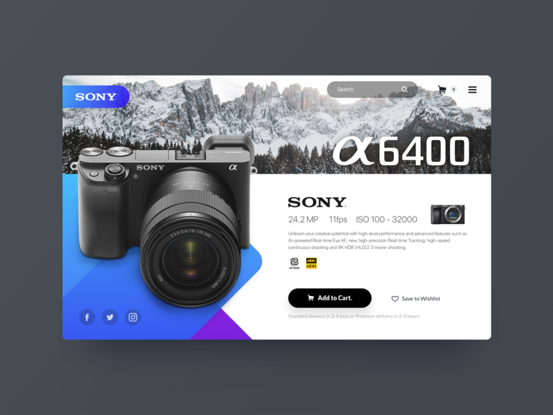 Product single UI concept. product design photography camera sony sonya7ii webdesign web ui