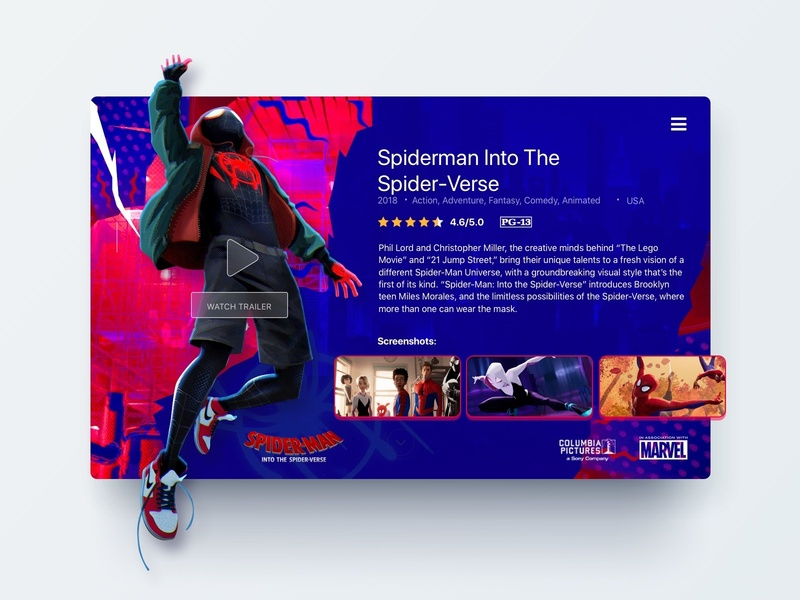 UI Card movie detail - Concept ui design web card movie spiderman ui