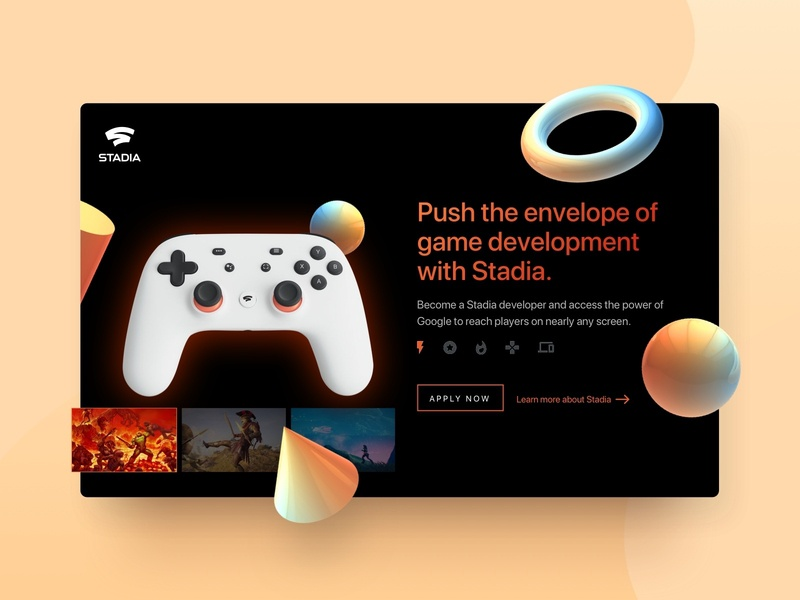 UI Card -  Google Stadia concept playgame stadia google games clean design card ui design ui
