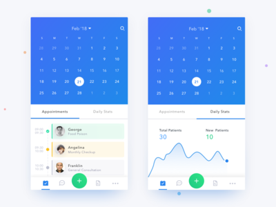 Dr app - Scheduler screen with daily stats
