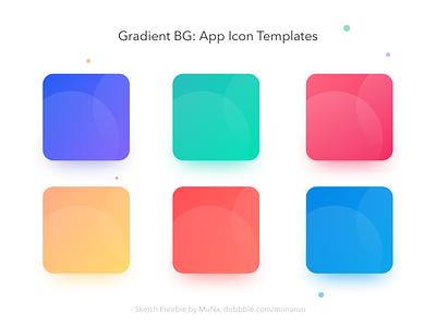Gradient BG App icon Templates - Sketch Freebie layout card shadow texture icon app pallette color freebie