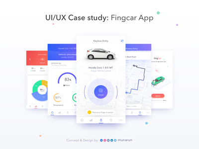 UI/UX case study of my conceptual app - Fingcar uiux app mobile fingerprint interaction design concept medium study case ux ui