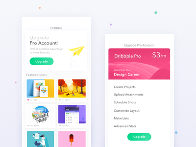 Dribbble Pro Account - Features lists cards colors upgrade pricing account pro dribbble ux ui