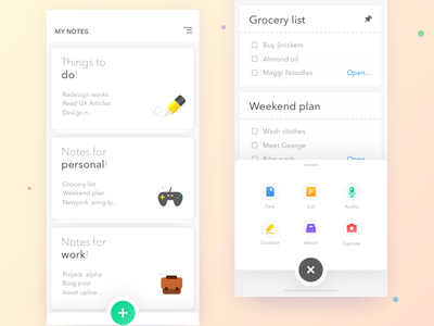 My Note - conceptual Clean Note taking app notebook note taking scribble text checklist app android ios ui ux icons