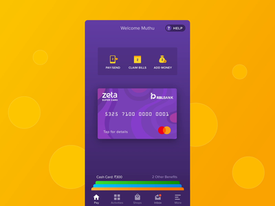 Dynamic Super PIN Generation - Zeta card animation ios pin payment card app mobile interaction ux ui