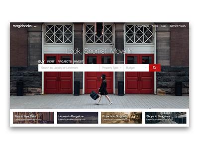Magicbricks Website Redesign Concept  real estate property rent buy search webpage home magicbricks web ui ux