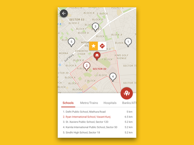Points of Interests on Map real estate property maps navigate ios android directions poi magicbricks map ui ux
