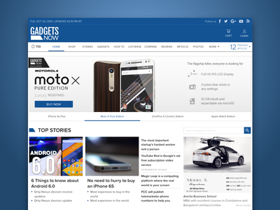 Gadgets Now Home Page ux ui news stories shopping gadgets tech web design home page